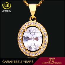 Wedding gift Fashion jewellery , yellow gold plated pendant with big stone design