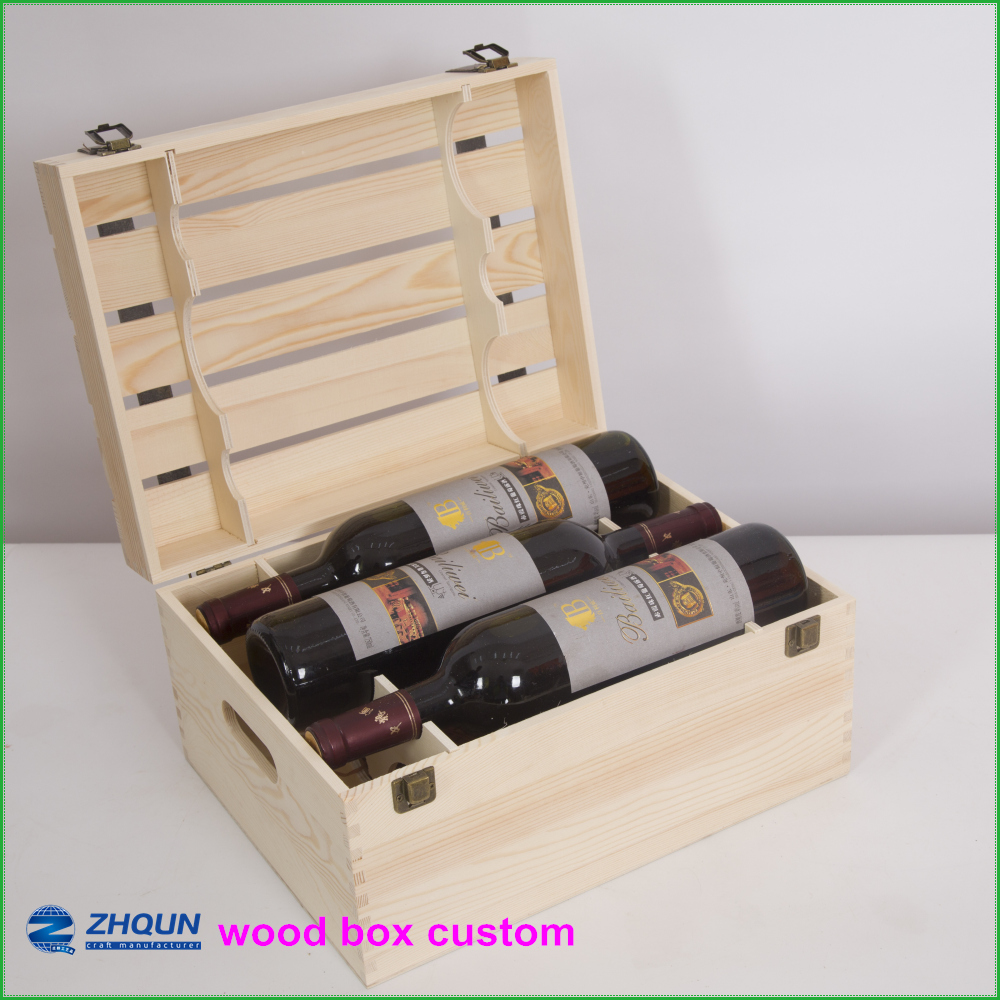 Wholesale best price unfinished triple wooden pine wine boxes