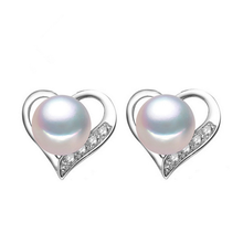 925 silver freshwater cultured real women stud earring pearl