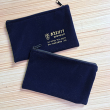 custom made velvet zipper pouch bag