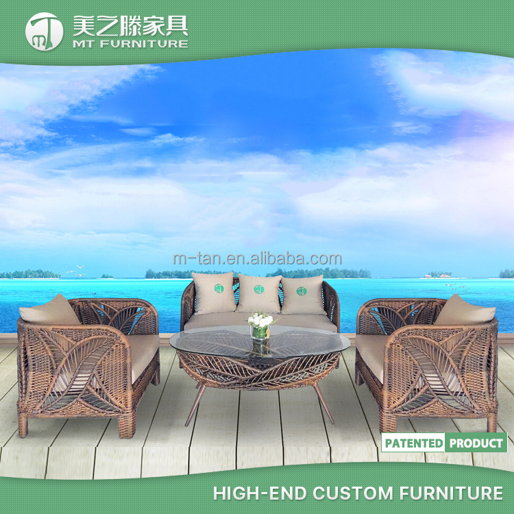 2016 special leaf pattern design rattan balcony sofa set for outdoor furniture