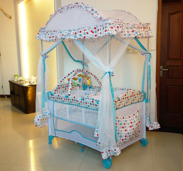 European stand baby playpen with canopy mosquito net
