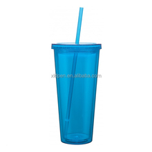 2017 hot sales 700ML Plastic double wall acrylic tumbler with straw wholesale