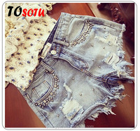 WZ6 2016 new summer wear white brick beads worn thin denim shorts shorts women's casual pants