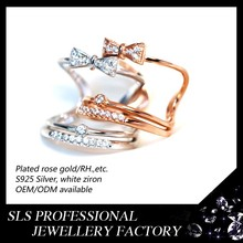 Fashion 925 silver ring female south Korean double sweet bowknot set opening ring
