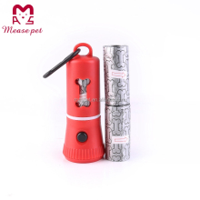 Pet products supply factory design flashlight dispenser,dog poop bag dispenser