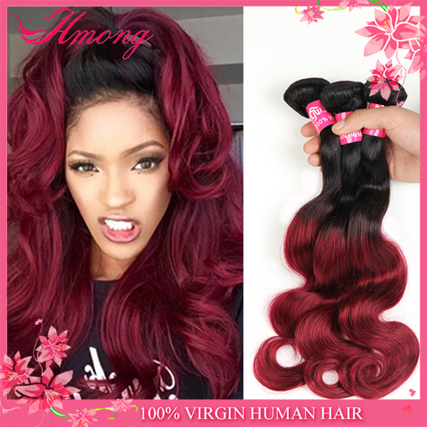 Wholesale factory price cheap brazilian hair ombre colored hair weave black & red ombre hair extension