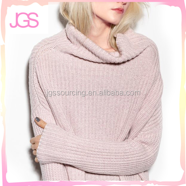 Women's pure colour recreational long-sleeved turtleneck sweater