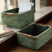 Kingwillow,Rectangular Woven Maize Storage Bins&Baskets with Handle Set of 3
