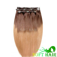 Wholesale indian virgin remy human hair 120g 3pcs/set full head ombre clip in hair extension