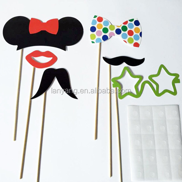 New Wedding Party Supplies Photo Booth Props On A Stick Moustache and Bow Tie