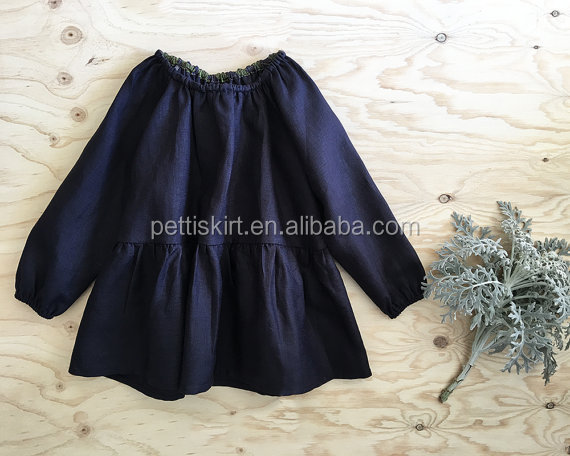 Pictures of latest gowns designs baby kids navy linen smock dress girl tiered navy linen tunic