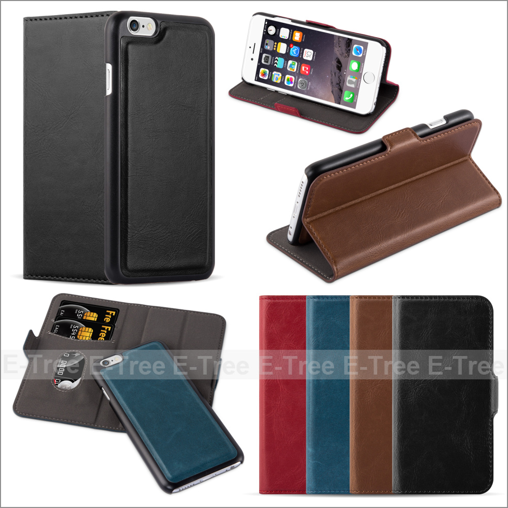 Luxury 2 in 1 Detachable Magnet Wallet Leather With RFID Blocking Flip Phone Case Back Cover For Apple iPhone 6/ 6 Plus