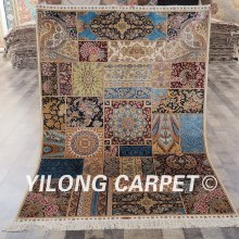 100% silk rug for sale Yilong 4'x6' hand knotted Kashmir persian rug silk rug for sale