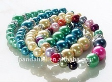 Fashion Glass Pearl Bracelets, with Middle East Rhinestone, Multicolor, about 55mm inner diameter(BJEW-JB00303)