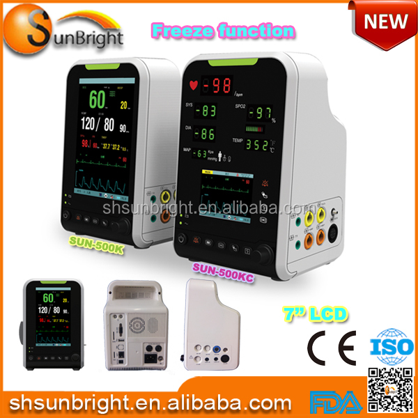 "Adult/pediatric/neonatal Bedside Patient Monitor Price&Small size 7"" Cardiac Monitor"