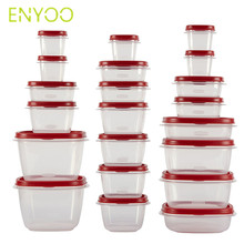 BPA free plastic deep groove red food storage containers with airtight lids for kitchen use