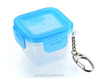 mini plastic box tiny candy box airtight food container with with key chain 70ml