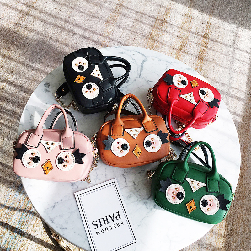 Owl Cute New Cartoon Kids Mini Crossbody Bag Printing PU Leather Female Shoulder Bags For Girls Children