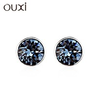 OUXI Hight Quality Crystal Stone Light Drop Ear Studs 925 Sterling Silver Earring Y20166