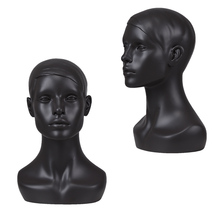 Cheap custom wholesale black fiberglass display male realistic dark skin mannequin head with shoulders