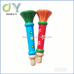 Kids cheap mini trumpet toy, color painted wooden trumpet for wholesale