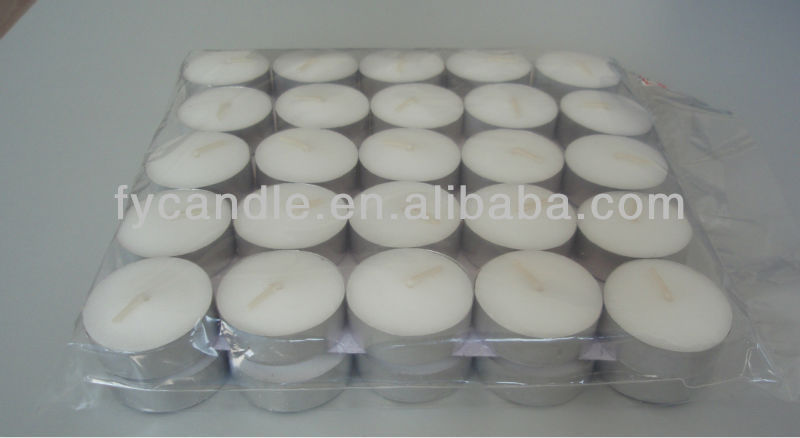 2013 new unscented candle in tin wholesale tea light with aluminum holder