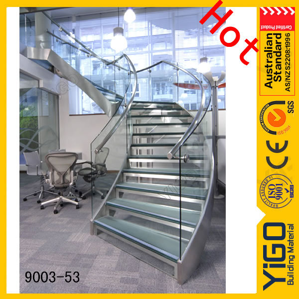 solid wood handrails round staircase / round stainless steel glass stair