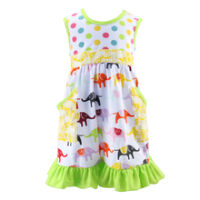 Kaiyo Elegant Children beautiful Long cotton baby Frocks Designs with polk dot&animal pattern