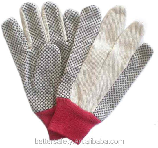 Red Knit Wrist Cotton Canvas With Black PVC Dots Cotton Construction Gloves