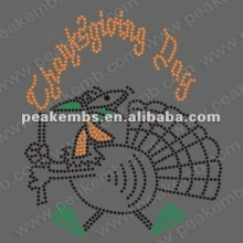 2012 Happy Thanksgiving motif hot fix rhinestone heat transfers coustom designs