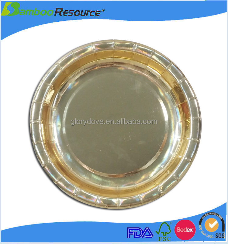 High quality disposable beautiful paper plate gold trays