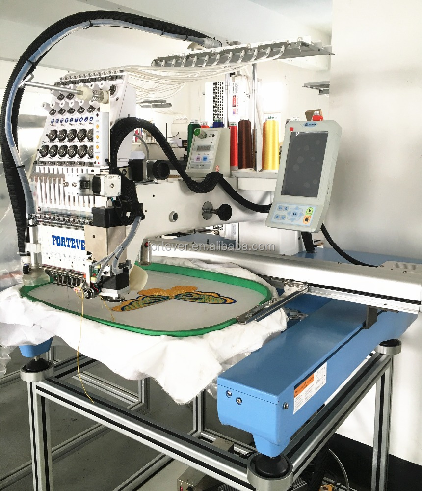 Single head embroidery machine with laser cutting and easy cording device.