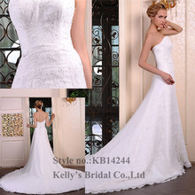 new style straight neckline A-line skirt wedding dresses for mature women