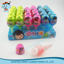 egg shape fruit flavor lolly roll liquid candy