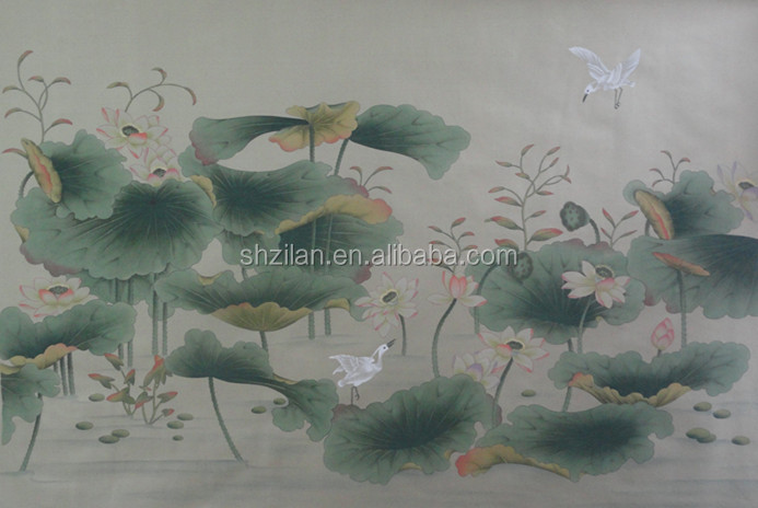 Hand Painted Silk embriodery Wallpaper /Wallcoverings