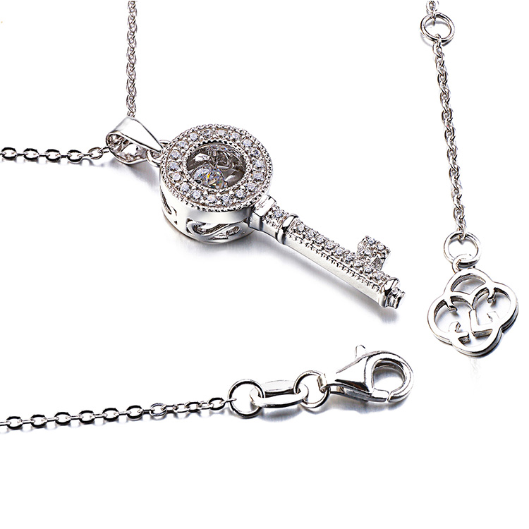 High quality custom mens 316l stainless steel key shape pendant charm necklace with crystal