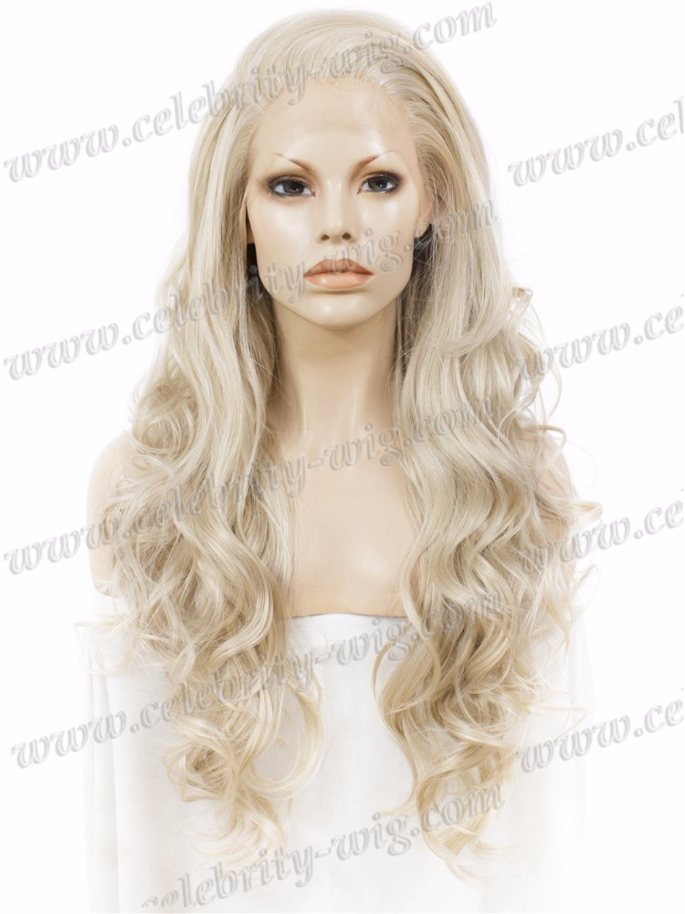 Hot sale celebrity synthetic lace front wigs drag queen light blonde beauty supply wigs