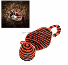 New Handmade Crochet Tiger Hat Fashion Handmade Crochet Baby Tiger Hat and Cover Newborn Photography Props Children Costume