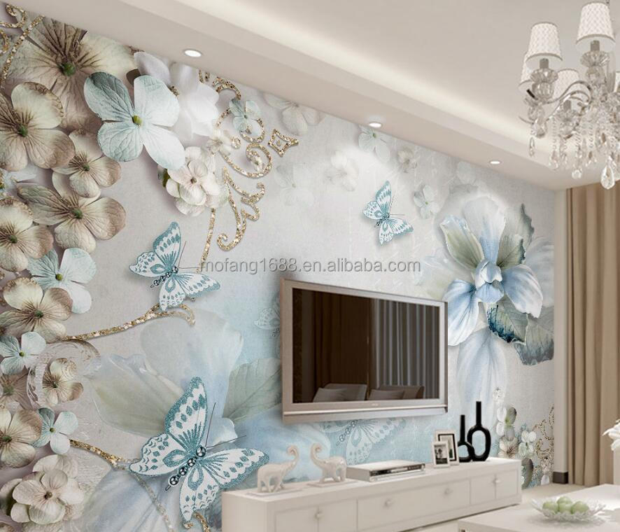 Any wall sizes suitable luxury jewelry diamond flower wallpaper 3D butterfly blue customize