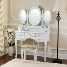 French Antique Dresser Chair Dressing Table With Mirror And Drawers