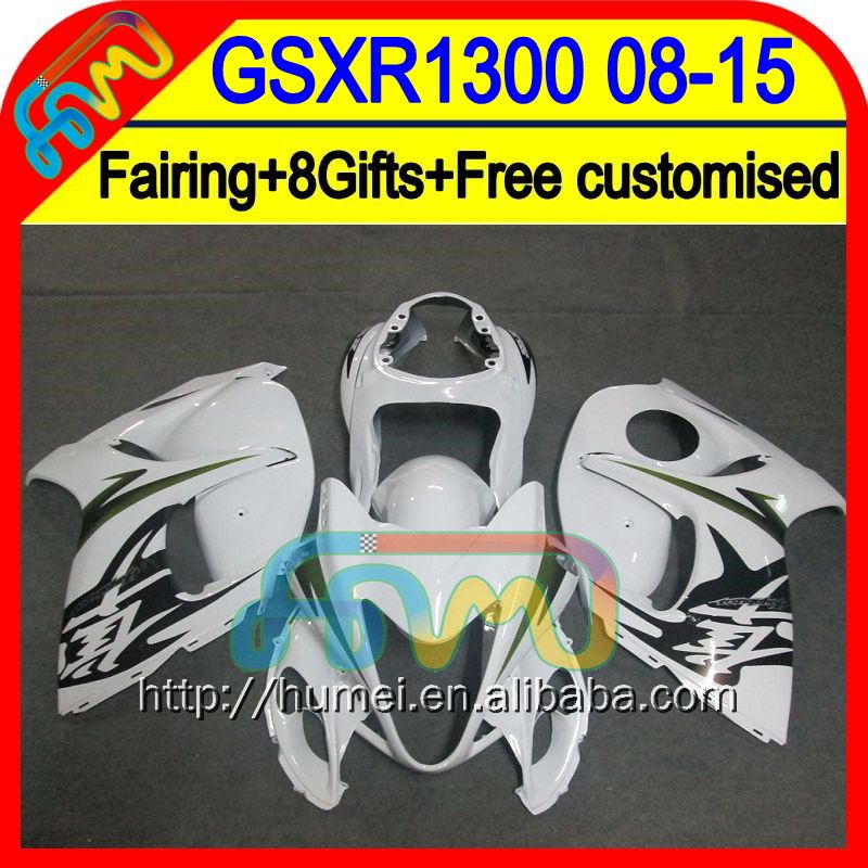 8Gift Glossy white Fairing For SUZUKI Hayabusa GSX R1300 08 09 10 11 9HM3129 GSXR1300 Hot white GSXR 1300 2008 2009 2010 2011