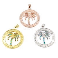 Hawaii Holiday Style Coconut Palm Tree Design Australian Opal Pendant