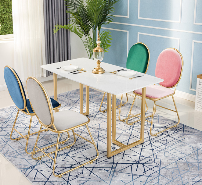 Nordic hotel marble dining table and chairs restaurant table wholesale  INS chair