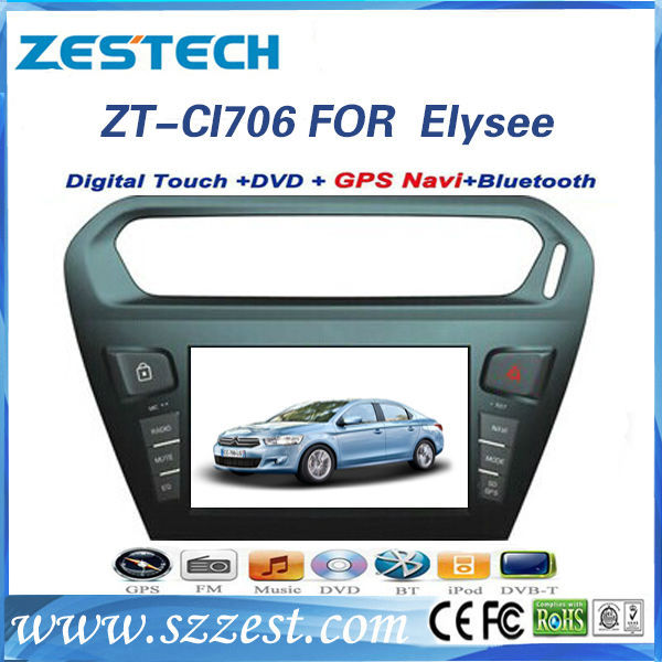 ZESTECH double din hd touch screen gps car dvd for Citroen Elysee 2013 dvd player with gps naviation