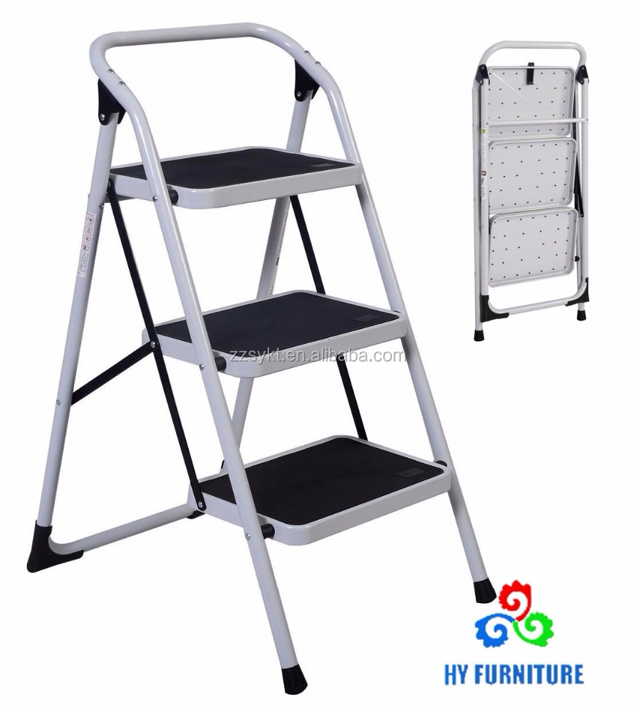 Lightweight steel folding 3 steps ladder stools with handrail