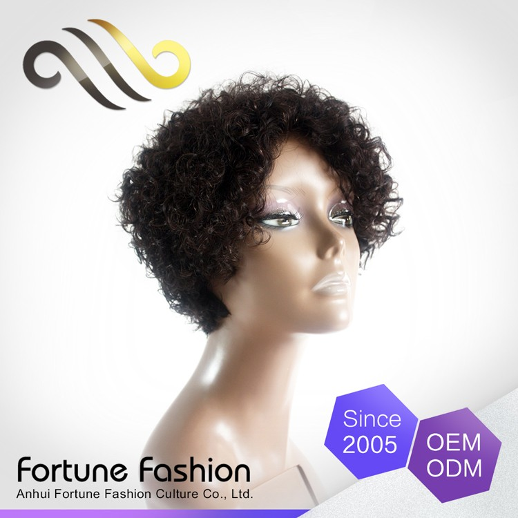 alibaba beauty products 100% human hair short curly hair non lace 6 inch wigs