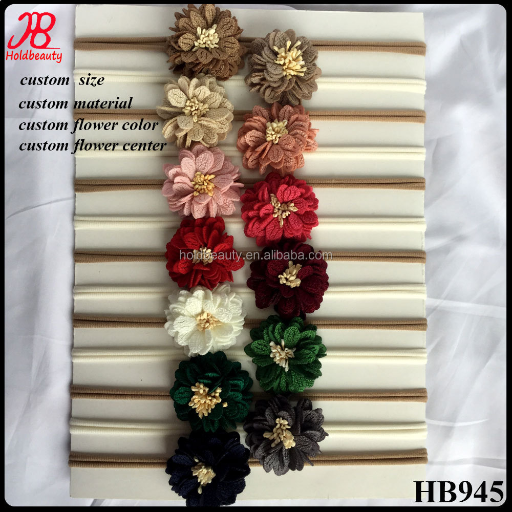 fabric flower nylon headband great elastic