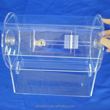 2015 Clear Acrylic Lucky Draw Box, Acrylic Lottery Draw Display, Acrylic Raffle Ticket Drum