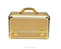 Hot sale gold cosmetic beauty shunning hard vanity makeup case